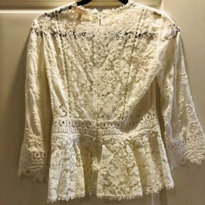 Rebecca Taylor Lace 3/4 Sleeve Top